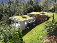 modern underground house in nature
