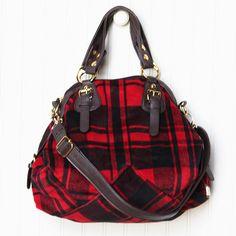 red plaid handbag by Galian Fall Plaid, Tartan Plaid, Bootie Boots, Shoe Boots, Shoe Bag, Plaid Purse, Vintage Inspired Outfits, Eco Friendly Fashion, Purse Styles