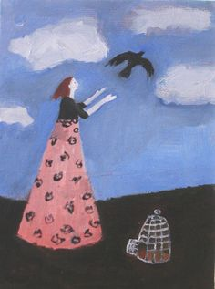 BYE BYE and original oil painting on 8x6 inch by EverywomanArt, $75.00