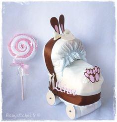 Bunny baby Rolls, cadeau bébé mini landau de couches personnalisé