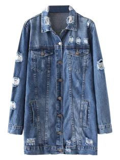 Hmarkt Womens Destroyed Ripped Hole Classic Denim Button Up Pockets Jacket Coat
