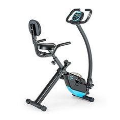 nice Capital Sports Trajector Bicicleta estática ergómetro plegable (Volante de 1,4 Kg, 8 niveles resistencia, pulsómetro, monitor entrenamiento, indicador velocidad, bici azul)