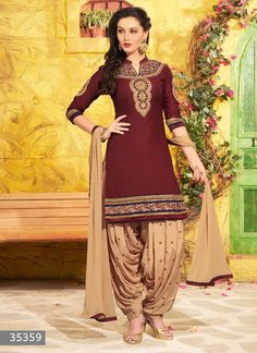 Maroon Color Unstitch Embroidered Patiala Salwar Kameez - 35359 - Rs. 1349.00