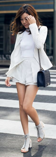 Co-Ord Outfits: Vertical stripe two piece blazer and shorts set. So on trend. Via Jenny Tsang  Blazer/Shorts: Pinnacle Runway, Top: Zara, Shoes: Miista, Bag: Chanel
