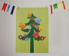 Owls in Tree. A4 print. Design Sara Vestberg.