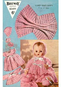 Vintage knitting pattern for baby dolls/ reborn layette Bestway by AliPalisPlace on Etsy Costume Patterns, Doll Patterns, Frock Patterns, Sewing Patterns, Baby Knitting Patterns, Crochet Patterns, Knitting Ideas, Bitty Baby Clothes, Doll Clothes