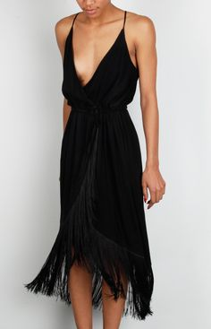 Fringe Wrap Dress   SALSIT