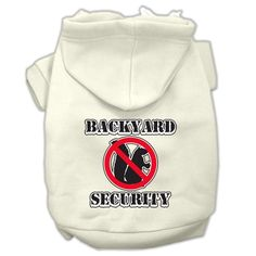 Backyard Security Screen Print Pet Hoodies Cream Size XXL (18)