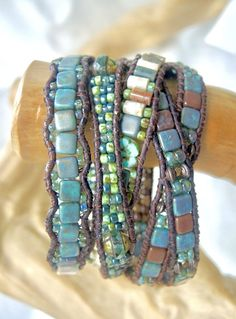FRESH FOCUS Gemstone 5 Wrap Leather Bracelet OCEAN Jasper