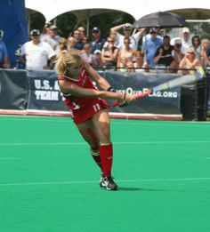 "USA Field Hockey Team member Shannon Taylor sporting ""USA"" KT Tape for knee support during recent game against Argentina."