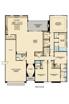 Residence 1 - Plan El Dorado Hills, CA 95762 - Photo 5 of 17 Craftsman House Plans, New House Plans, Dream House Plans, Small House Plans, House Floor Plans, House Blueprints, Dream House Exterior, Sims House, Home Design Plans