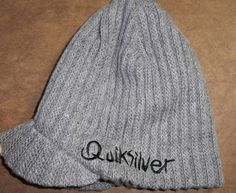 0f5164e5b00 New Quiksilver Hat Beanie Visor Brim Gray Fall Winter Ski Snow Men s Free  SHIP