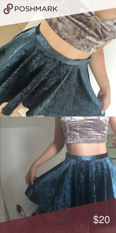 Velvet skirt Blue Green velvet skirt, barely worn. It has belt loops attached so you can style it with a thin belt. Very nice material and a beautiful, unique color. Skirts A-Line or Full
