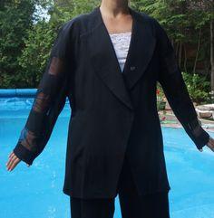 BLAZER BLACK plus size XXL Evening Vintage by blingblingfling Blazers For  Women 331dfda4c