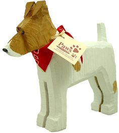 Hand-painted and chainsaw carved in U.S. Always well behaved! Jack Russell Terrier.