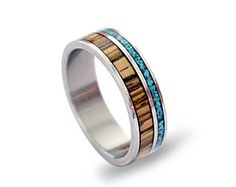 Titanium Ring with Zebrano Wood and Turquoise Inlays, Turquoise Ring, Wooden Band, Wood Ring, Mens Titanium Wedding Band,Mens or Womens Ring