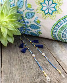 Handmade Accessories, Handmade Jewelry, Eyeglass Holder, Diy Necklace, Boho Jewelry, Eyeglasses, Blue Grey, Dark Blue, Light Blue
