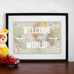 Personalised Nursery Map Print (c) ANGIE FREESE #welcometotheworld #map #quote #nursery