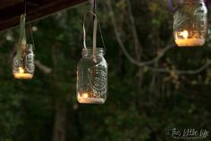Make your own lighting for a rustic outdoor wedding with mason jars and tea light candles