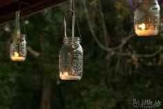Make your own lighting for a rustic outdoor wedding with mason jars and tea light candles Tea Light Candles, Tea Lights, Wedding Stuff, Wedding Ideas, Rustic Outdoor, Mason Jar Lamp, Wedding Wishes, Fall Wedding, Light Bulb