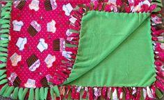 Simplee sweet cupcakes fleece tie blanket, reversible tie blanket, #valentines blanket. Shop here: https://www.etsy.com/listing/262707295/simplee-sweet-cupcakes-fleece-tie?ref=shop_home_active_2 #simpleesweetboutique