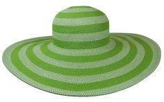 64eec4611f7c0 Boardwalk Style - Large green striped sun hat Green Stripes