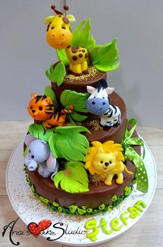 Jungle-Safari Party - For all your cake decorating supplies, please visit… Jungle Safari Cake, Jungle Birthday Cakes, Jungle Theme Cakes, Safari Baby Shower Cake, Safari Cakes, Safari Party, Animal Birthday, Baby Shower Cakes, Jungle Party