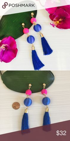 🤑PRICE DROP Silk and Tassel Les BonBon Earrings Silk Tassel and gold tone blue and pink earrings, they are stunning and will make a splash, also comes in off white Jewelry Earrings