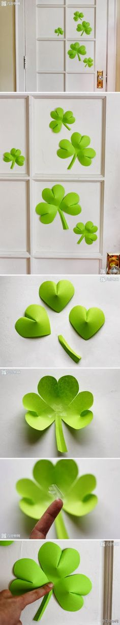 DIY Easy Paper Clover Ornament: link doesn't lead anywhere but I super like this idea for St. Patricks Day.