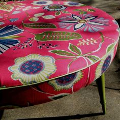 Ottoman Coffee Table Round Upcycled in Designer Fabric with Wood Legs in Moss Green