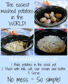 Simple Mashed Potatoes (How the crock pot can make mashed potatoes great again) The Easiest Mashed Potatoes in the World! (How the crock pot can make mashed potatoes great again) Crockpot Mashed Potatoes, Making Baked Potatoes, Cooking For A Crowd, Food For A Crowd, Vegetable Side Dishes, Vegetable Recipes, Cooking Vegetables, Slow Cooker Recipes, Crockpot Recipes