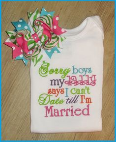 Sorry Boys, embroidery shirt, Cute Saying with M2M Piggy Set. $37.00, via Etsy.