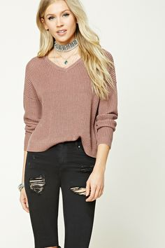 Purl Knit V-Neck Sweater