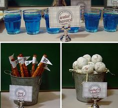 """golf party ideas ~ Use Fruit by the Foot for the """"flags"""" on pretzel sticks to make it completely edible."""