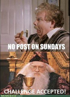 No post on Sundays! Ha! No blasted letters today! - Uncle Vernon