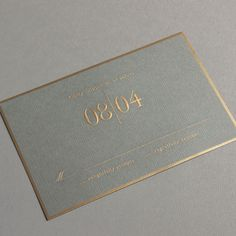 Vera Wang Engraved Gold Bordered Light Grey Wedding Invitation #weddinginvitation