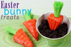 Easter bunny treats, rice krispie treat cut to look like carrots, tissue paper for the green . . .