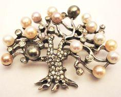 Stunning Pennino Sterling Tree Pin Pearl Rhinestone   eBay