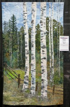 Aspens High by Nancy Baldwin Woods. Photo by Cathy Geier. 2016 AQS Paducah show. Landscape Art Quilts, Watercolor Landscape, Tree Quilt, Quilt Art, Wildlife Quilts, Blog Art, Japanese Quilts, Sewing Art, Quilted Wall Hangings