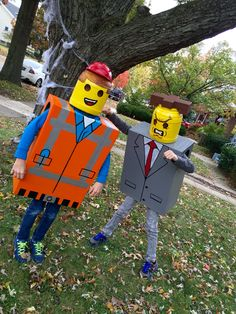 Emmet and Mr. Lego Costume, Costumes, Skateboard, Thanksgiving, Homemade, Halloween, Fall, Skateboarding, Autumn