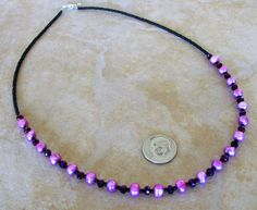Lilac Purple Freshwater Pearl Crystal Black Czech Beaded Necklace 19 3/4 Inches  #BusyBeeBumbleBeads #Beaded