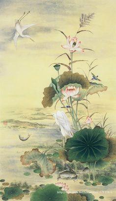 원본 이미지 Lotus Painting, Silk Painting, Painting & Drawing, Watercolor Paintings, Japanese Painting, Chinese Painting, Chinese Art, Japanese Background, Geisha Art