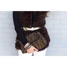 belted fur vest, vintage Fendi purse