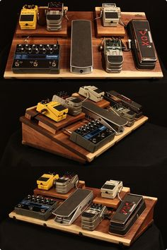 Walnut guitar effects pedal board...powered, shielded, with an on/off switch…