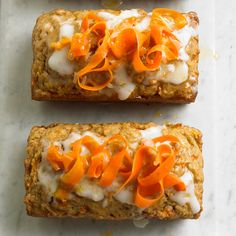 Carrot bread topped with candied carrots and cream cheese icing. More tasty recipes: http://www.bhg.com/recipes/from-better-homes-and-gardens/april-2011-recipes/?socsrc=bhgpin072612carrotbread#page=8