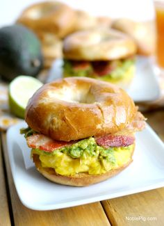 Cheesy Egg, Avocado and Bacon Breakfast Sandwich, a beautiful way to celebrate the morning, from NoblePig.com