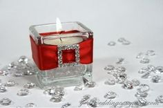 Reception, Centerpiece, Red, Wedding, Table, Candle, Glass