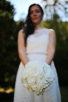 Hochzeit, Brautstrauß, Hortensien