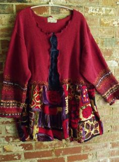 Plus Size Upcycled Sweater Tunic, Abstract Vintage Rayon Print, Vintage Chenille, Fall Colors - Refashion sweaters Old Sweater, Tunic Sweater, Cotton Sweater, Sewing Clothes, Diy Clothes, Pullover Upcycling, Sweatshirt Refashion, Recycled Sweaters, Altered Couture