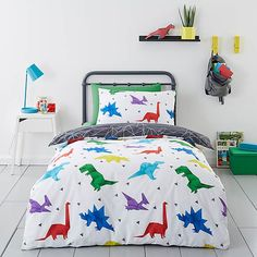 Origami Dino 100% Cotton Reversible Duvet Cover and Pillowcase Set | Dunelm King Size Duvet Covers, Double Duvet Covers, Duvet Sets, Duvet Cover Sets, Contemporary Duvet Covers, Dinosaur Design, Cot Bedding, Product Label, Bedding Collections